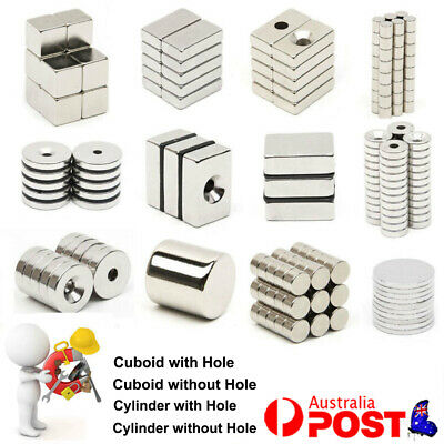 AU11.96 • Buy Strong Magnets N52 Block Ring Round Bridge Cylinder & Cuboid  Wth Hole Or Not