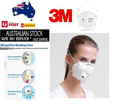 AU10.99 • Buy 3M 9002V KN90 Particulate Respirator Anti-Bacterial Valved P1 N90 Face Masks