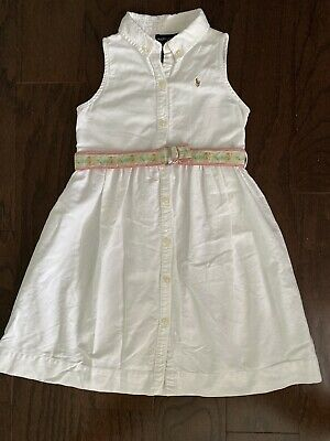 $12 • Buy Girls Ralph Lauren White Belted Polo Dress Size 6