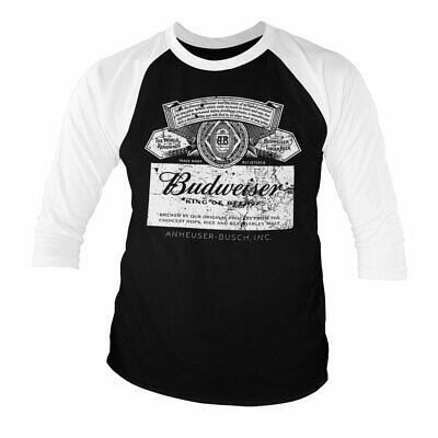 $ CDN35.32 • Buy Officially Licensed Budweiser Washed Logo Baseball 3/4 Sleeve T-Shirt S-XXL Size