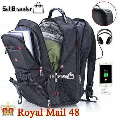 Swiss Multifunctional 17'' Laptop Backpack Travel USB Charge Camping School Bag • 29.09£