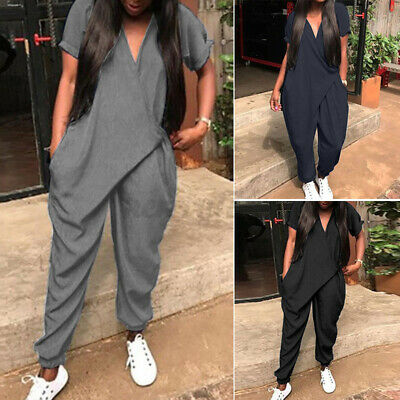 UK Stock Womens Short Sleeve V-Neck Casual Loose Jumpsuits Baggy Harem Playsuits • 9.48£