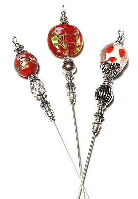 3 X 6  Red Hat Pin Set Glass Beads Tibetan Silver Style Strong Pin UK MADE • 24.95£