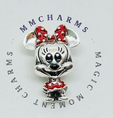 MINNIE MOUSE Dotted Dress Bow European Charm & Gift Pouch - Silver Tone - Disney • 5.10£