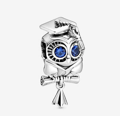 🇬🇧💜💜925 Sterling Silver Wise Owl Graduation Charm & Pouch • 15.95£