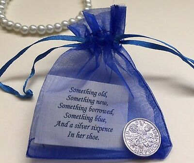 £2.99 • Buy Bride's Silver Sixpence Gift - Something Old, Something Blue Lucky Wedding Charm