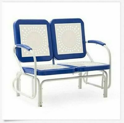 $238.88 • Buy Outdoor Glider 2 Seat Patio Metal Retro Bench Seating Blue Garden Furniture