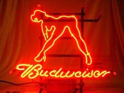 $ CDN163.29 • Buy 17 X14 Budweiser Hot Girl Neon Sign Light Beer Bar Pub Real Glass Visual Artwork