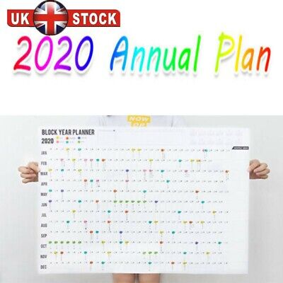 2020 Year Wall Planner Yearly Annual Calendar Chart A2 Large Stickers Schedule . • 2.98£