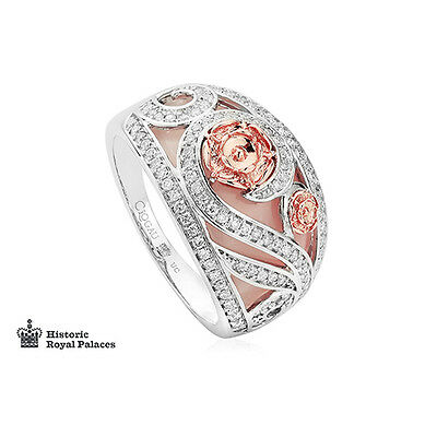BRAND NEW Clogau 18ct White & Rose Gold Tudor Rose Pink Opal Ring £1320 Off! P • 880£
