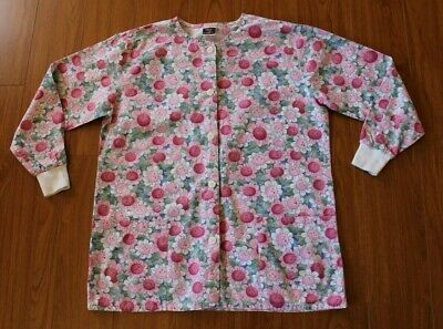 $14.99 • Buy Pink Smiling Flowers Long Sleeve Button-Up Scrub Jacket Size Large