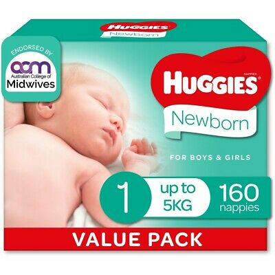 AU40 • Buy Huggies Ultimate Mega Nappies Size 1 Newborn (up To 5kg) - 160 Pack