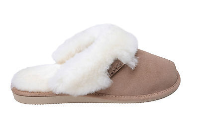 Women 100% Natural Sheepskin Slippers Mules With Warm Wool Lining - Made In EU • 14.99£