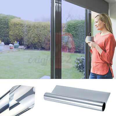 One Way Reflective Mirror Window Film Privacy Stained Glass Stickers Silver UK • 7.20£