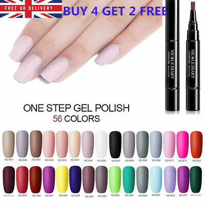 NICOLE DIARY 3-in-1 UV Gel Nail Polish Pen Pink Shiny Soak Off Nail Gel Varnish • 3.29£