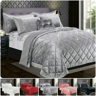 $ CDN102 • Buy Luxury Crushed Santiago Velvt Bedspread Quilted Comforter Bed Throw Bedding Set
