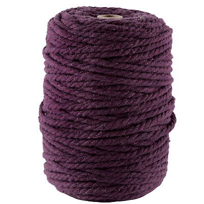AU45 • Buy 5mm Eggplant Macrame Cord 3 Ply Coloured Cotton Rope String Twisted Aus Seller
