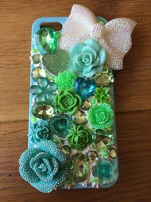 Handmade Decoden Phone Case Iphone 5/5S/SE 2020 New Mint Flowers Sparkly Girly • 15£