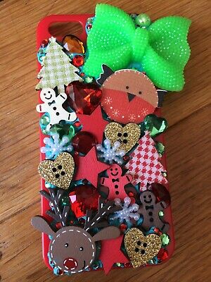 Handmade Decoden Phone Case Iphone 5/5S/SE 2020 New Christmas Winter Red Green • 15£