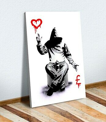Banksy Love Or Money Graffiti Canvas Wall Art Print Artwork Painting Deep Framed • 12.99£