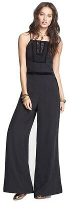 $69.99 • Buy $198 NWT Free People Size 12 Black Tuxedo Wide Leg Crossback Sleeveless Jumpsuit