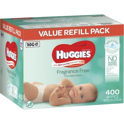 AU15 • Buy Huggies Thick & Soft Baby Wipes Mega Pack Fragrance Free 400 Pack