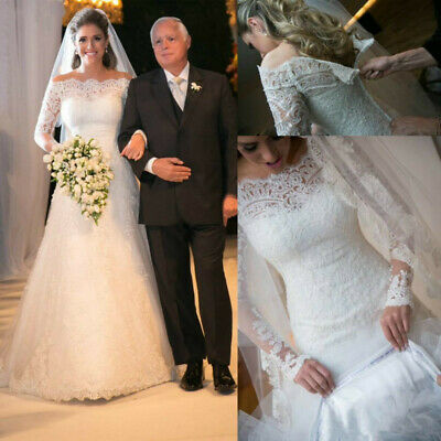 $ CDN163.26 • Buy White Lace Wedding Dresses Bridal Gowns Ivory Off Shoulder Long Sleeves Custom