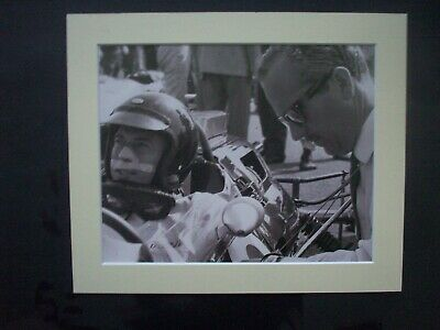 £10 • Buy JIm Clark/Colin Chapman Picture From An Old Pirelli  Book.Mounted.