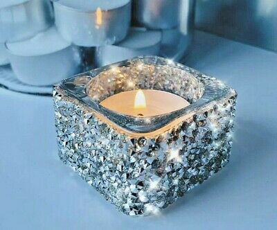 £5.99 • Buy Silver Candle TeaLight Holder Glass Crushed Diamond Stunning Christmas Bday Gift