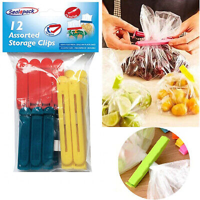 12Pcs Food Bag Clips Reusable Tie Plastic Storage Sealing Fridge Freezer Fresh • 3.94£