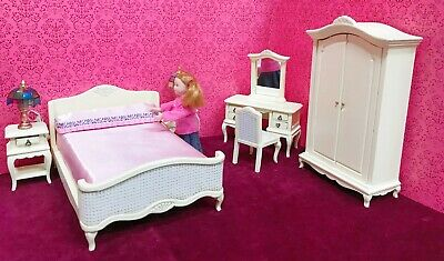 Dollhouse Miniature  French Style  Dressed Bed Bedroom Set - 6pcs. (ONLY) • 109.40£