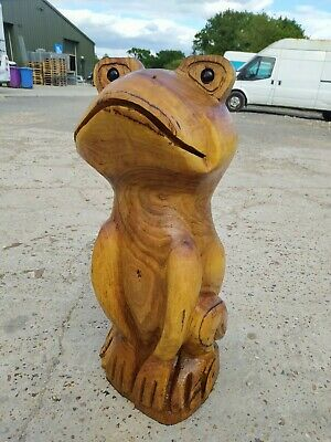 Sussex Chainsaw Carving Frog Gift Idea Wooden Garden Home Rustic Decoration • 200£