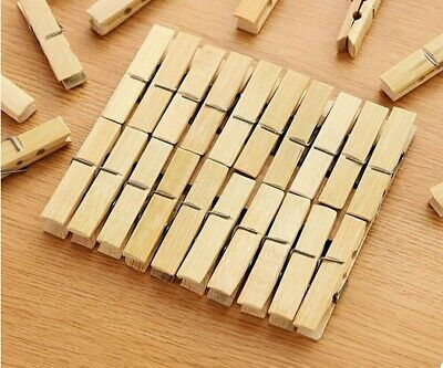 £2.49 • Buy Bamboo CLOTHES PEGS STRONG SPRING CLIPS PINE WASHING AIRER DRY LINE HOME GARDEN