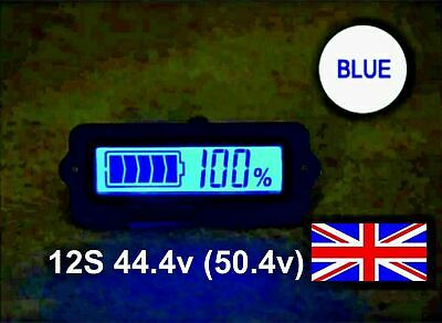 12S 44.4v (50.4v) Battery Capacity Indicator Blue LCD Display Li-ion LiPo EBike • 8.95£
