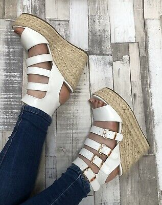£9.99 • Buy White Gladiator Sandals Size 5 Wedge Espadrille Buckle Caged Heels Faux Leather