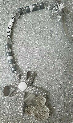Personalised Silver/grey Dummy Clip Pacifier/Soother Saver Mickey Mouse Inspired • 3.99£