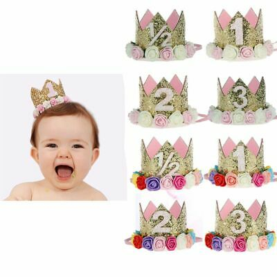 Baby Birthday Decor Flower Party Crown Gold Number Birthday Hat Hair Accessory  • 2.88£
