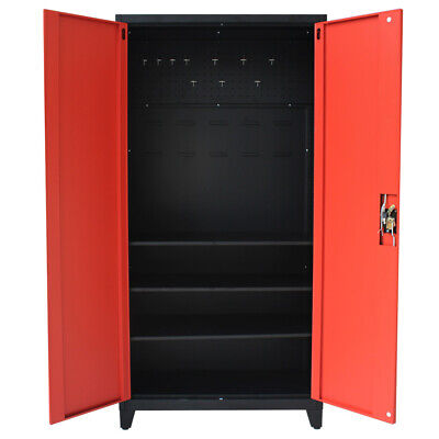 Metal Tool Cabinet Lockable Storage Cabinet Garage Shelves Pegboard 2 Door 180cm • 159.99£
