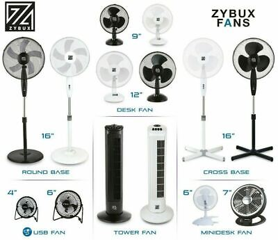 ZYBUX - Fans Stand Desk USB Oscillating Black & White Various Size Electric Fans • 16.95£