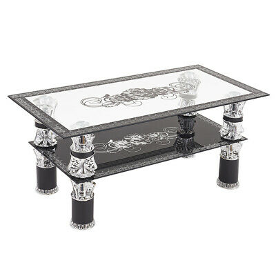 Coffee Table Clear Glass Top 2 Tiers Living Room Table Chrome Leg Tempered Glass • 66.99£