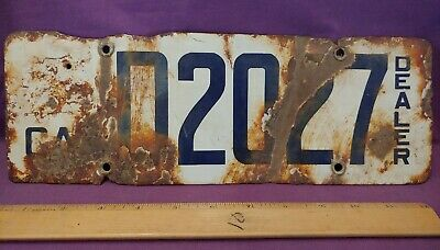 $ CDN86.66 • Buy Antique California Porcelain Dealer License Plate D2027 1916 - 1919  (A)