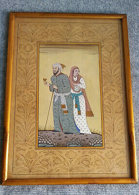 $365 • Buy Antique India Indian Indo Persian Islamic Man Woman Couple Painting Illustration