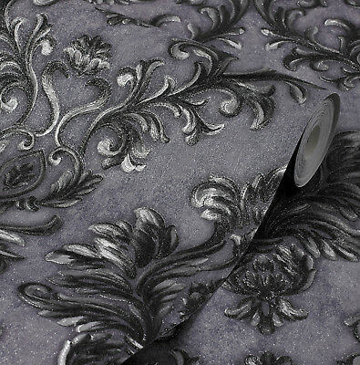 Exclusive Sparkle 2 Grey/Black Damask Glitter Wallpaper (Q104) • 19.95£