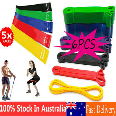 AU9.99 • Buy AU 6 / 5PCS Resistance Bands Set Fitness Loop Yoga Heavy Duty Gym Exercise Home