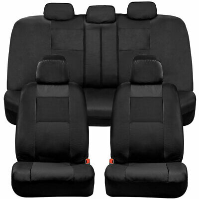 $30.99 • Buy BDK Faux Leather Full Set Car Seat Covers - Front & Rear Two-Tone In Black
