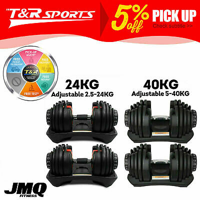 AU109.99 • Buy 10/20/24/40kg Adjustable Dumbbell Home GYM Exercise Equipment Weight Fitness
