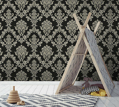 Exclusive Majestic Diamond Black/Silver Grey Damask Glitter Wallpaper (Z306) • 20.99£
