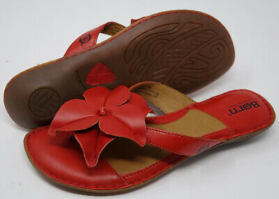 $59.99 • Buy Brand New With Box BORN Size 7 Red Flower Detail Flip Flop Sandals Shoes