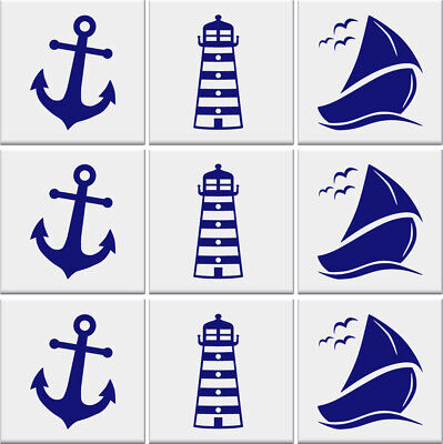 £2.99 • Buy Bathroom Tile Stickers ANCHOR LIGHTHOUSE SAILBOAT Nautical Wall *3 DESIGNS*