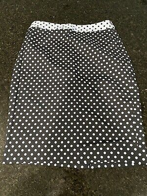 The Limited Baby Blue Navy Polka Dot Knee Length Skirt Size 6 EUC • 3.58£
